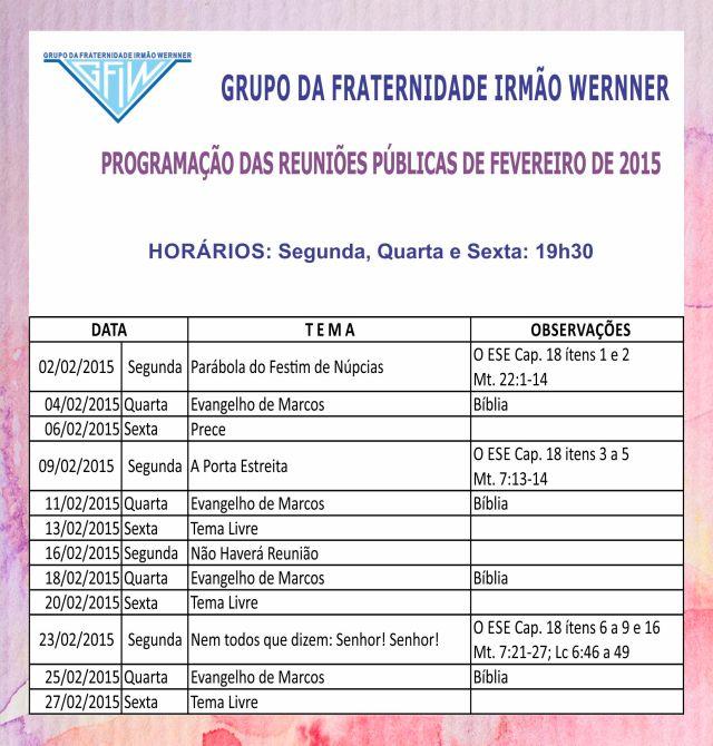 Programação fevereiro 2015