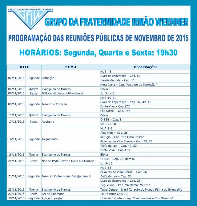 Programação novembro 2015