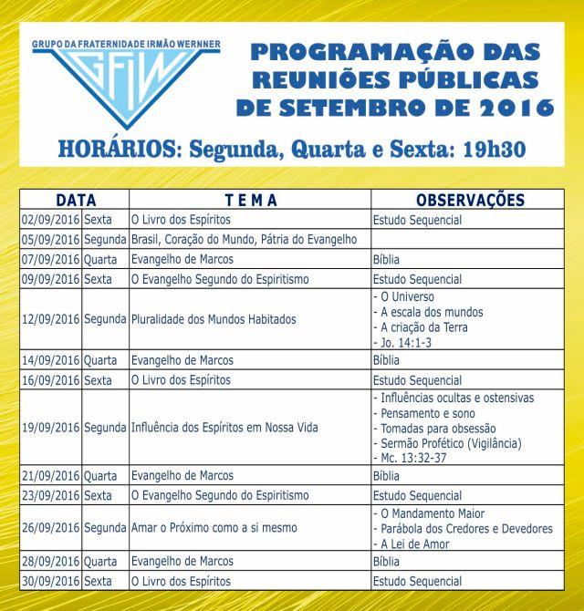 Programação Setembro 2016